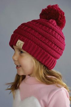 Kids Knit Beanie (Hot Pink)
