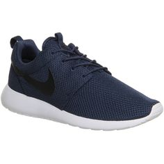 Nike Roshe Run ($110) ❤ liked on Polyvore featuring shoes, sneakers, trainers, midnight navy, unisex sports, nike footwear, traction shoes, sports footwear, nike athletic shoes and patterned shoes