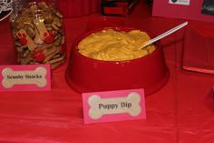 Scottie dog birthday party - Scooby snacks with puppy dip which is pumpkin dip