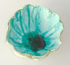 Decorative lace ceramic bowl, Aqua, Turquoise and Jade Green,  Boho Valentines Day gift for chocolates or potted plants. $30.00, via Etsy.