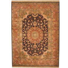Herat Oriental Indo Hand-knotted Tabriz Black/ Salmon Wool & Rug