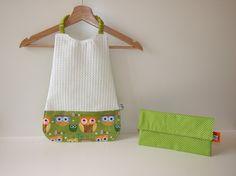 Serviette élastique Hiboux en tissu éponge nid d'abeille et coton vert