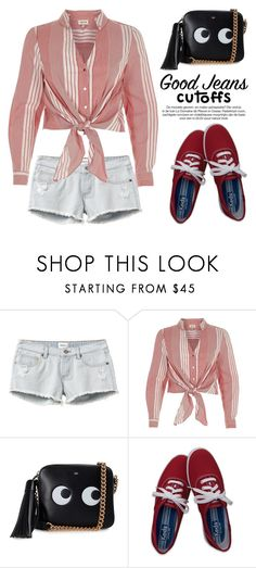 """Summer Staple: Denim Cutoffs 3809"" by boxthoughts ❤ liked on Polyvore featuring RVCA, River Island, Anya Hindmarch, Hollister Co. and DENIMCUTOFFS"