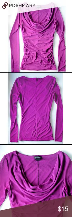 VS Mesh Top Victorias Secret Double layer sheer mesh fuchsia top, one layer on sleeves. Cowl neck. Lightly gathered sides. Worn few times, no signs of wear, excellent condition. Will fit sizes 0 - 4. Moda International Tops Tees - Long Sleeve
