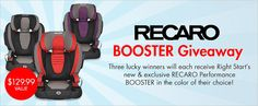 We're giving away three RECARO Performance BOOSTER car seats! Available exclusively at @Sue Wales Start! #toddler #kids #giveaway