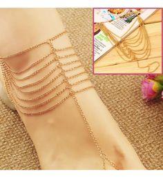 Le Perla Multilayer Chain Anklet Bracelet Toe Ring 1 pc