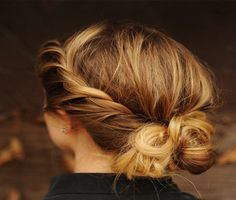 Twisted hair bun tutorial.  Back to school hairstyles and more cool hair ideas.