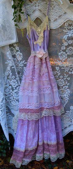 Purple lace dress party lavender mauve fringe por vintageopulence