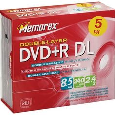 Memorex 8.5Gb/2.4x DVD+R Dual Layer (5-Pack) by Memorex. $16.00. 5PK DVD+R 8.5GB DL W/ JC