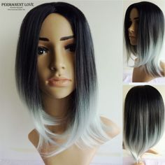 Silk straight grey ombre wigs two tone natural black rooted gray Synthetic hair wigs medium length long Bobo wigs for women wigs-in Synthetic Wigs from Health & Beauty on Aliexpress.com | Alibaba Group