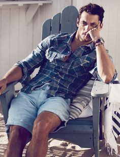Summer...Classic...What An Endless, Classic Look...Cotton Shorts With A Plaid Shirt, Shirt Sleeves Rolled Up...This Pairing Would Look Great On Men Almost Any Size...Oh, So Casual, Oh, So Chic!!