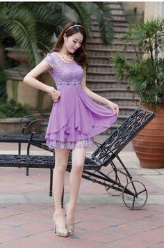 Short Sleeve, Summer, Chiffon, Lace, Layered Elegant Dress, YRB2144, YRB Fashion, Rainy Hint, Free Shipping, online Clothing, Womens, Korean...