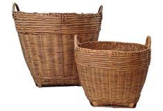 Bamboo Splint Baskets w/ Handles, Pair