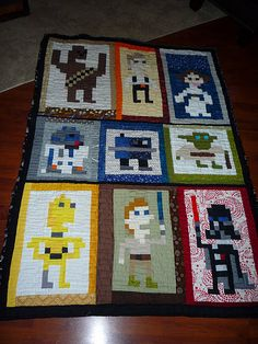 By samhanmama (Star Wars Quilt) -- sorry the link is bad but at least I have a front facing picture now. Star Wars Quilt, Fabric Crafts, Sewing Crafts, Sewing Projects, Craft Projects, Square Patterns, Quilt Patterns, Quilting Ideas, Star Wars Love