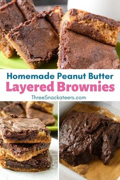 Homemade desserts are the best! These tasty chocolate peanut butter brownies are made from scratch.  This easy recipe uses cocoa powder for a rich chocolate base and is layered with a decadent peanut butter swirl. Easy Baking Recipes, Snack Recipes, Dessert Recipes, Candy Recipes, Homemade Peanut Butter Cups, Peanut Butter Candy, Chocolate Peanut Butter Brownies, Chocolate Snacks, Yummy Snacks