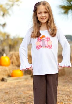 Girls Turkey Applique T Shirt Girls only $28! Cute for Thanksgiving day !!!