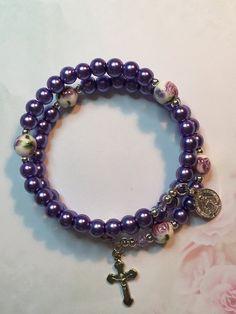 Glass Pearl Rosary Bracelet in Striking Soft Purple Color. Catholic Rosary Bracelet, Memory Wire Rosary Bracelet by LivAriaDesigns on Etsy
