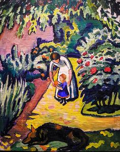 alongtimealone: August Macke - Im Garten (Elisabeth mit Walterchen und Wolf), 1912 at Museum Ludwig Cologne Germany (by mbell1975)