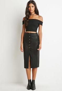 Buttoned Faux Leather Skirt Falda De Cuero 11eeb612f4b6