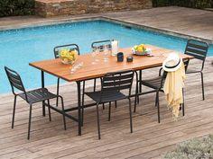 Table de jardin pliante bois et métal Sohan | Acacia