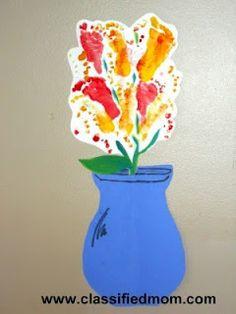 Baby Craft- Footprint Flower Vase Painting