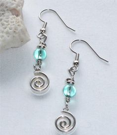 Handmade beaded jewelry glass and silver earrings with by jjewells, $15.00