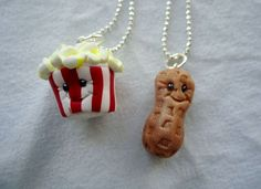 Peanut & Popcorn Best Friends Necklaces by ArtbyAshLigon on Etsy, $12.99