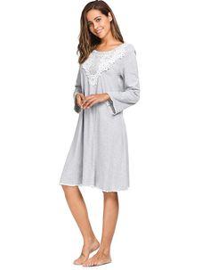 c6f30dd107 Ekouaer New Elegant Lace Nightwear Women Long Sleeve Patchwork Nightgown  Autumn O-Neck Casual Loose
