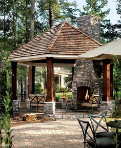 Stone adds interest to a covered outdoor area