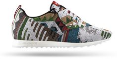 Couch Converter Service - VITTEL transforms couch fabrics into sneakers. Aztec model inspired by a Mexican bench. Already used to the peaks of Machu Pichu, this pair will definitely help you reach new heights.