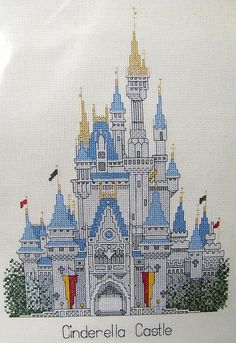 Vintage Disney Cinderella Castle Cross Stitch Kit Brand New Out of ...
