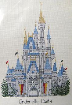 Vintage Disney Cinderella Castle Cross Stitch Kit Brand New Out of ...