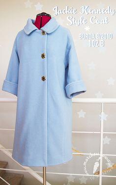 blog, szycie, krawiectwo, płaszcz, Burda, wykrój, pattern, 50s, 60s, Jackie Kennedy Style Coat