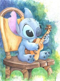 Pixar Drawing Michelle St Laurent Ukulele Solo - From Disney Lilo and Stitch Giclee On Canvas Disney Fine Art - Disney Pixar, Animation Disney, Disney And Dreamworks, Disney Magic, Disney Movies, Disney Ships, Disney Cartoon Characters, Animation Movies, Disney Cartoons