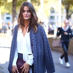 Louise Grinberg leaving the Miu Miu fashion show in Paris. #grey #streetstyle