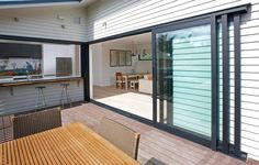 The Eurostacker® sliding door is the ultimate in discreet home styling - Fletcher Aluminium - Premium Systems, Innovative Solutions Sliding Door Window Treatments, Sliding Windows, Sliding Glass Door, Windows And Doors, External Sliding Doors, Aluminium Sliding Doors, Aluminium Windows, Balcony Doors, Patio Doors