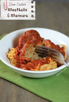 Slow Cooker Meatballs and Marinara - the BEST sauce and moist, flavorful meatballs. Just 219 calories or 5 Weight Watchers points per serving. www.emilybites.com #healthy