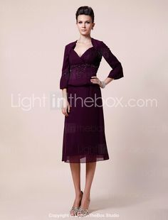 Sheath/ Column V-neck Knee-length Chiffon Mother of the Bride Dress With A Wrap - USD $ 129.99