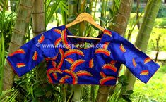 Blue Colored Golden Zari Worked Tusser Silk Designer Blouse Rs. 1093 Our price is inclusive of GST taxes
