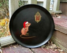Vintage Couroc of Montery Christmas Mouse Clock Plate Tray Serving Tray Cookies | eBay