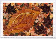 Autumn Leaves  Mixed Media Photo Greetings by AngiesTextileArt, £2.50