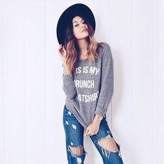Brunch Sweatshirt on this blogger babe- @hardtshapedbox. Get yours at shopjawbreaking.com