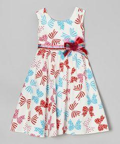 Blue & Red Bow Dress - Toddler & Girls