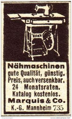Original-Werbung / Anzeige 1938 - NÄHMASCHINEN / MARQUIS - MANNHEIM - ca. 25 x 35 mm