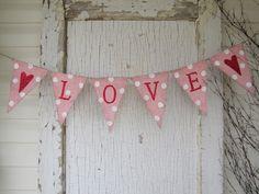 Valentines Day Heart Burlap Banner.