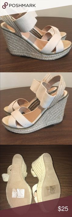 Tan Merona wedges 👡🌺👗 Literally wore for less than half an hour to a indoor event. They've been sitting in my closet for a few months and they need a lovely owner! Please ask if you have questions (: Shoes Wedges