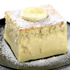 Easy Banana Magic Cake This easy Magic Banana Cake is not called MAGIC for nothing! When you mix together eggs sugar flour butter milk and mashed banana pour the batter in the baking dish and place in the oven the real magic starts! Easy Cake Recipes, Easy Desserts, Sweet Recipes, Delicious Desserts, Meal Recipes, Passover Desserts, Custard Desserts, Lemon Desserts, Easy Cakes To Bake