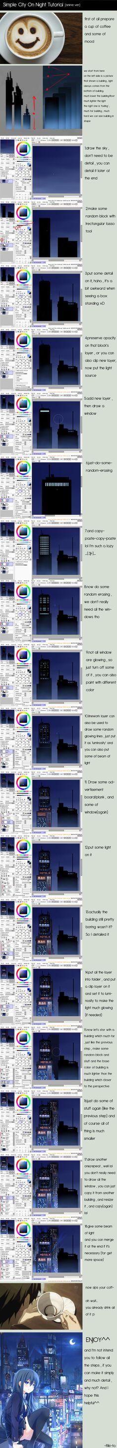 City On Night Tutorial [Paint Tool SAI] by Riki-to