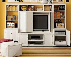 Logan Full Media Suite with Closed TV Hutch, home furniture Pottery Barn Cabinetry