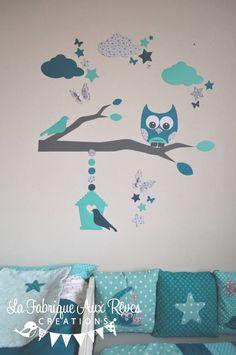 stickers hibou chouette grande branche nichoir nuages papillons et toiles ptrole turquoise gris clair et gris